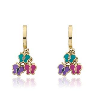 Little Miss Twin Stars 14k Gold Plated Hoop Earrings