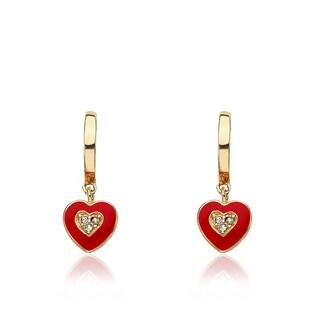 Little Miss Twin Stars I Love My Jewels Hoop Earring With Red Enamel Heart Dangle