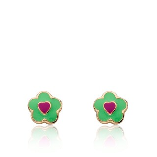 Little Miss Twin Stars Frosted Flowers 14k Gold Plated Mint Green Enamel Flower with Hot Pink Heart Center Stud Earring