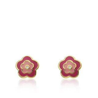 Little Miss Twin Stars Frosted Flowers 14k Goldplated Hot Pink White/Pink Enamel Flower Stud Earrings