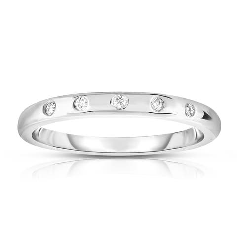 Noray Designs 14K White, Yellow or Rose Gold (0.06 Ct) Stackable Ring - White G-H