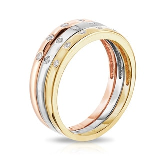 Noray Designs 14K White, Yellow or Rose Gold (0.06 Ct, G-H, SI1-SI2 Clarity) Stackable Ring.