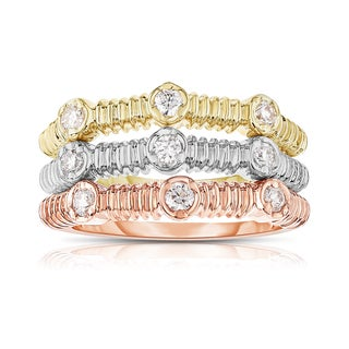 Noray Designs 14k Tricolor Gold 2/5ct TDW Diamond Stackable Ring Set - White G-H