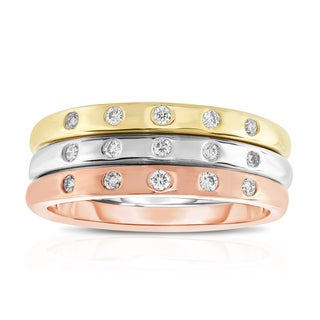 Noray Designs 14k Tricolor Gold 1/5ct TDW Diamond Stackable Ring