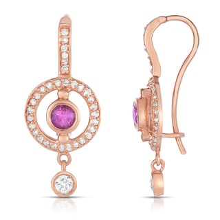 Noray Designs 14k Rose Gold Pink Sapphire and 1/2ct TDW Diamond Dangle Earrings (G-H, SI1-SI2)