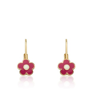 Little Miss Twin Stars Frosted Flowers 14k Goldplated Hot Pink Enamel Flower Accented With White Center Leverback Earrings