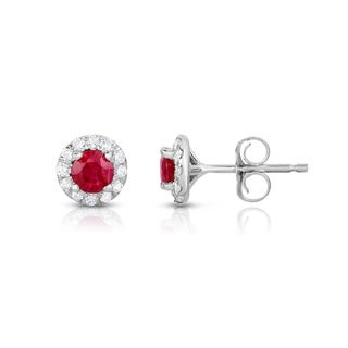 Noray Designs 14k White Gold Gemstone and 1/4ct TDW Diamond Earrings (G-H, SI1-SI2)