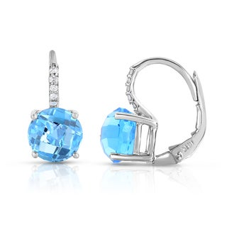 Noray Designs 14k White Gold Gemstone and Diamond Accent Leverback Earrings (G-H, SI1-SI2)