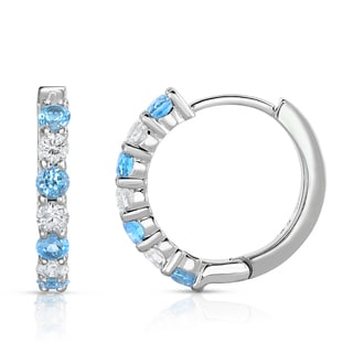 Noray Designs 14k White Gold Blue Topaz and 1/2ct TDW Diamond Hoop Earrings (G-H, SI1-SI2)