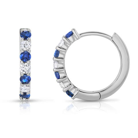 Noray Designs 14k White Gold Blue Sapphire and 1/3ct TDW Diamond Hoop Earrings (G-H, SI1-SI2)