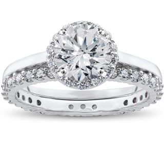 14k White Gold 2 ct TDW Eco Freindly Lab Grown Diamond Madelyn Halo Engagement Ring & Eternity Ring Set (F-G, SI1-SI2)