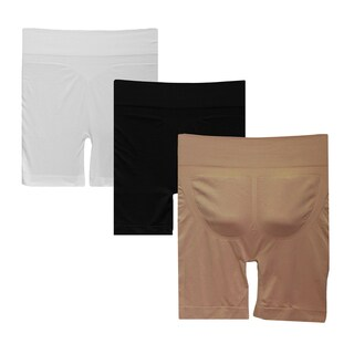 Black/White/Tan 3-piece Firm Tummy Control Shorts with Enhanced Butt Area Set
