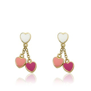Little Miss Twin Stars I LOVE My Jewels 14K Gold Plated White and Pinks Enamel Hearts Lariat Earrings