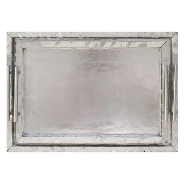 Forest Collection Silver Leather Rectangular Tray (Set of 2)