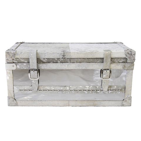 Pasargad Home Forest Collection Silver Steel and Cowhide Trunk