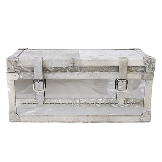 Forest Collection Silver Steel and Cowhide Small Trunk