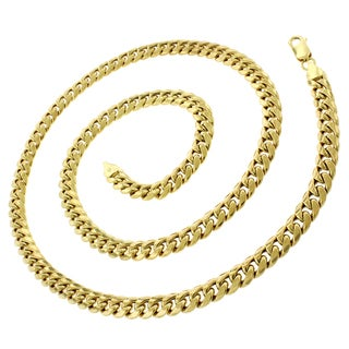 14k Yellow Gold 6.5mm Hollow Miami Cuban Curb Link Chain Necklace