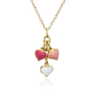 Little Miss Twin Stars Pink, White, And Dark Pink Enamel Hearts Cluster Chain Neckla