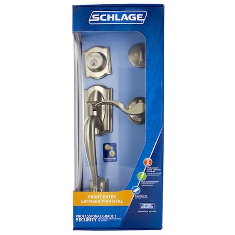 Schlage F60VCAM619 Satin Nickel Camelot Front Entry Handleset With Accent Lever