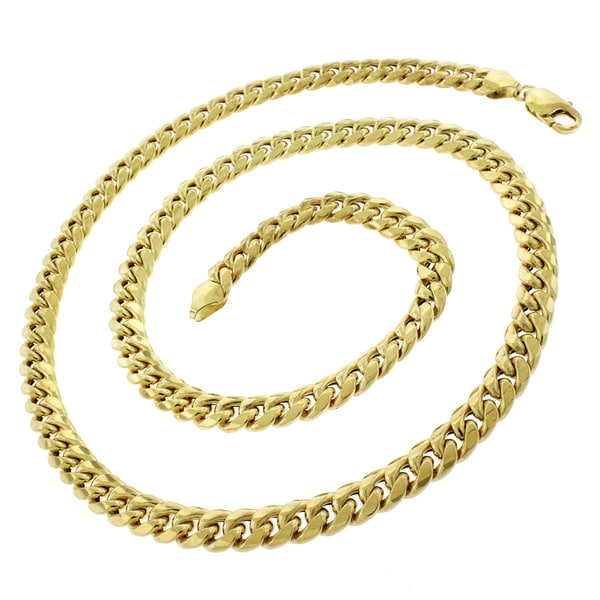 "14k Yellow Gold 7.5mm Hollow Miami Cuban Curb Link Thick Necklace Chain 22"" - 32"""