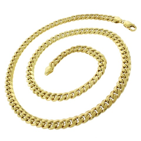 """14k Yellow Gold 7.5mm Hollow Miami Cuban Curb Link Thick Necklace Chain 22"""" - 32"""""""