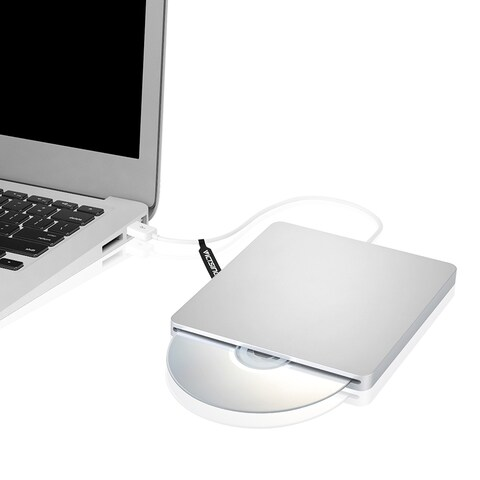 Patuoxun Silver External USB CD-RW SuperDrive for Mac and PC