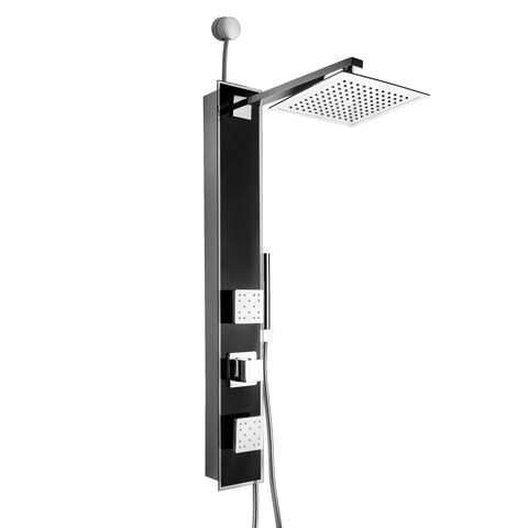 Golden Vantage 35-inch Easy Connect Tempered Glass Black Wall Mount Rainfall Style Multi-Function Shower Panel System