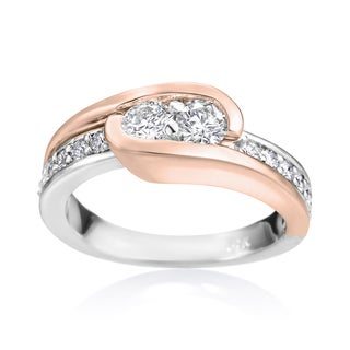 SummerRose 14k White and Rose Gold 3/4ct TDW Diamond Two Stone Ring