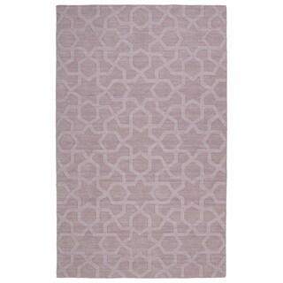 Trends Lilac Geo Wool Rug (5' x 8')