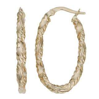 Fremada Italian 14k Yellow Gold Twisted Oval Hoop Earrings