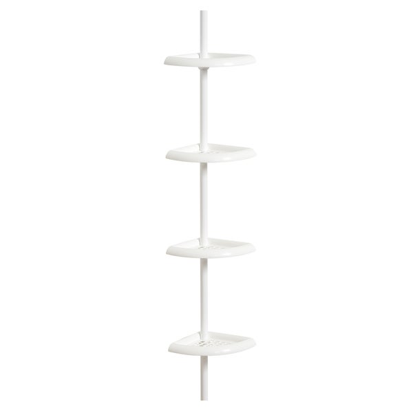 shop zenna home 2104w 97 x 10 5 x white tension corner pole caddy free shipping on orders. Black Bedroom Furniture Sets. Home Design Ideas