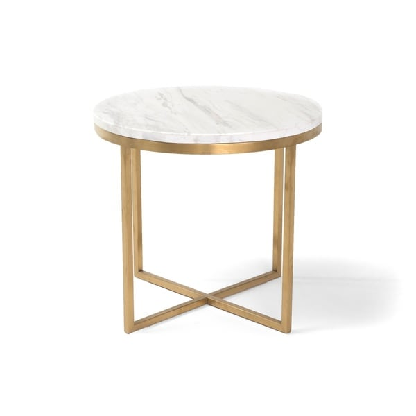 Valentina Mid-Century Modern 18-inch Marble Accent Table by RST Brands. Opens flyout.