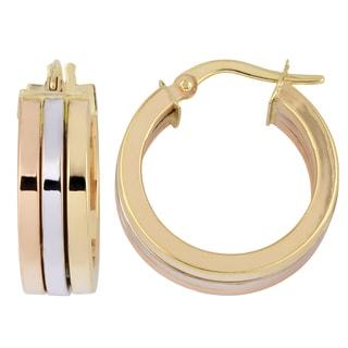 Fremada Italian 14k Tri-color Gold 6x15-mm High Polish Triple Hoop Earrings