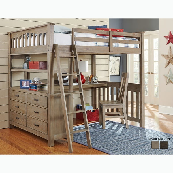 Bon Highlands Collection Driftwood Full Size Loft Bed, Dresser, And Desk