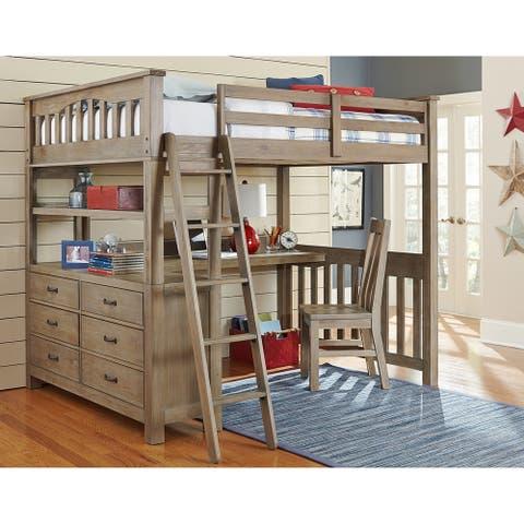 Highlands Driftwood Full-size Loft Bed, Dresser, and Desk