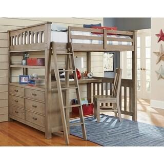 Highlands Collection Driftwood Full-size Loft Bed, Dresser, and Desk