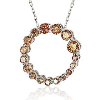 Suzy Levian Sterling Silver Brown Cubic Zirconia Circle Journey Necklace