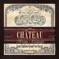 Tre Sorelle Studios 'Grand Vin Wine Label II' Mahogany Deep Box Framed Art - Red/White