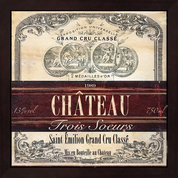 Tre Sorelle Studios 'Grand Vin Wine Label II' Mahogany Deep Box Framed Art