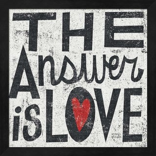 Michael Mullan 'The Answer is Love Grunge Square' Black Wood Deep Box Framed Art