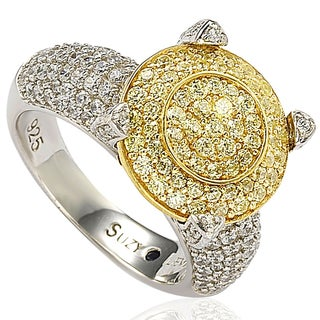 Suzy Levian Sterling Silver Cubic Zirconia Yellow Stone Shape Ring