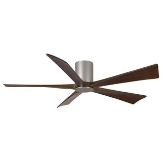 Matthews Fan Company Irene Brushed Nickel/Walnut Aluminum/Steel/Wood 60-inch 5-blade Hugger Paddle Fan With Light Kit