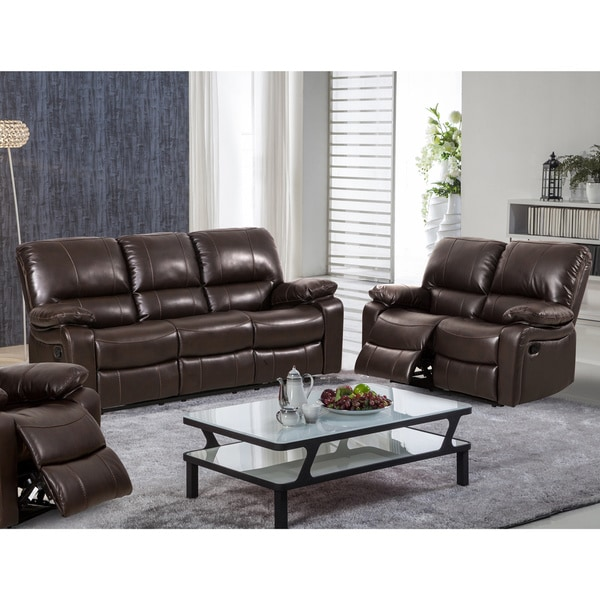 Samantha leather gel 2 piece reclining sofa and loveseat living room set free shipping today 2 piece leather living room set