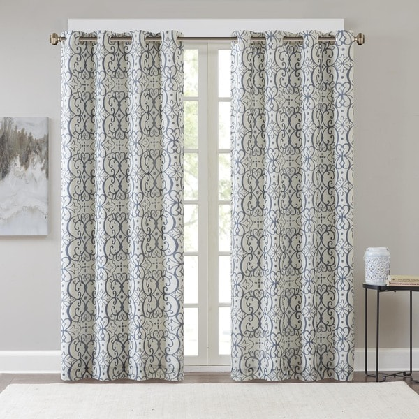 Madison Park Maren Printed Window Curtain Panel With Blackout Lining