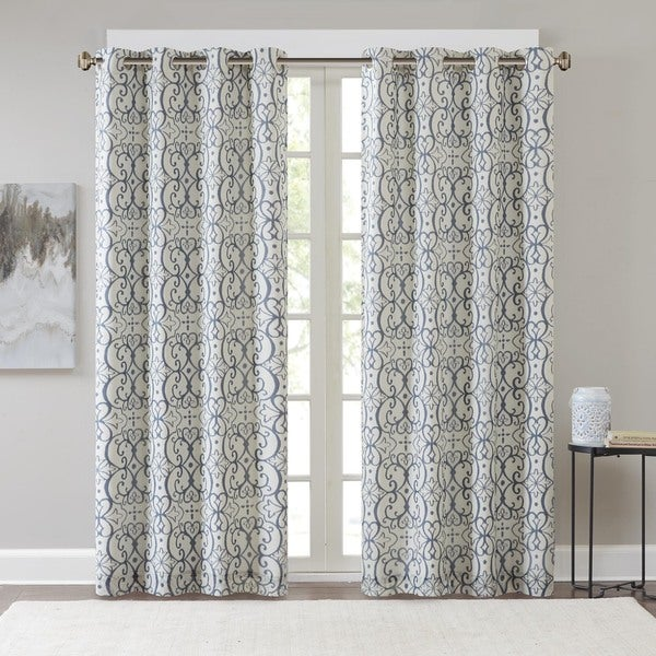 Grommet curtains pattern grommet curtain single - Madison Park Maren Printed Window Curtain Panel With