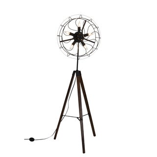 Somette Steampunk Reclaimed Wood 63-inch Fan Floor Lamp