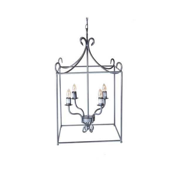 Somette Square Pewter Caged Pendant Lamp