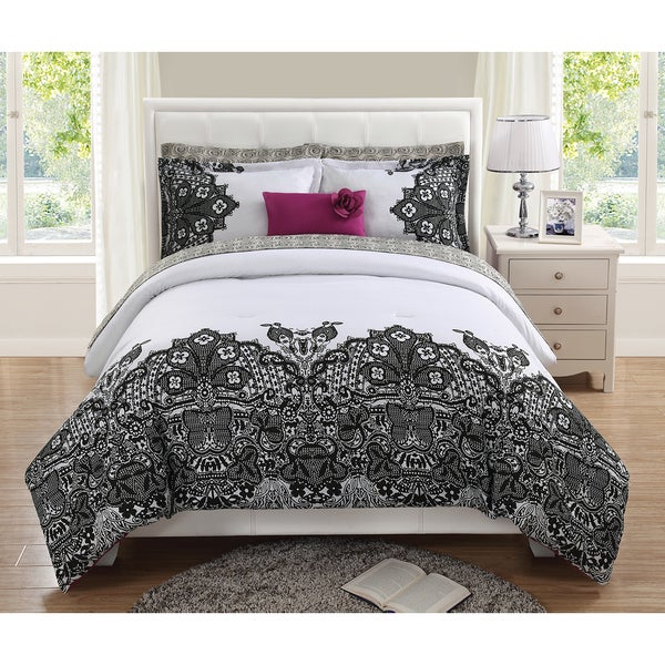 Lace Print Twin Sized 8-Piece Reversible Comforter Set