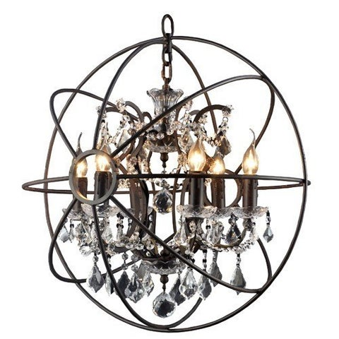 Y-Decor 6 Light Chandelier in Rustic Black Finish