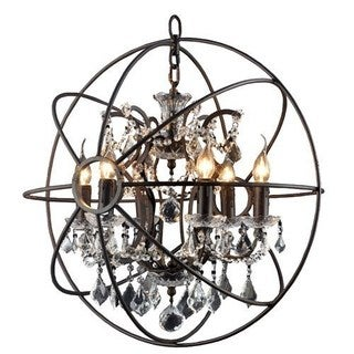 Rustic Black Orb 6-light Chandelier Circular Foyer Light Fixture